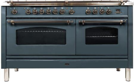 """UPN150FDMPBGYLP 60"""" Nostalgie Series Dual Fuel Range with 8 Sealed Burners, 5.99 cu. ft. Total Capacity True Convection Oven, Griddle, with Bronze Trim, in Blue Grey"""