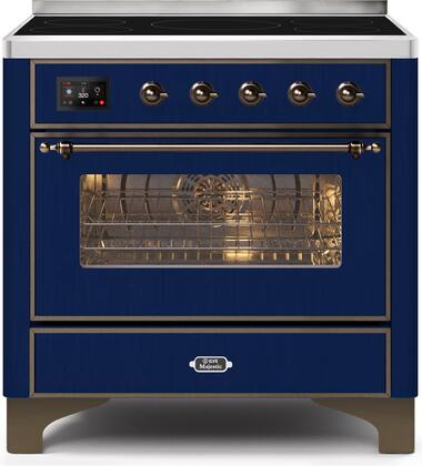 Ilve Majestic II UMI09NS3MBB Freestanding Electric Range Blue, UMI09NS3MBB-Front-CD-A