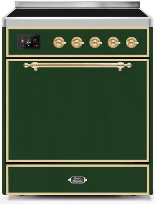 Ilve Majestic II UMI30QNE3EGG Freestanding Electric Range Green, UMI30QNE3EGG-Front-CD-A