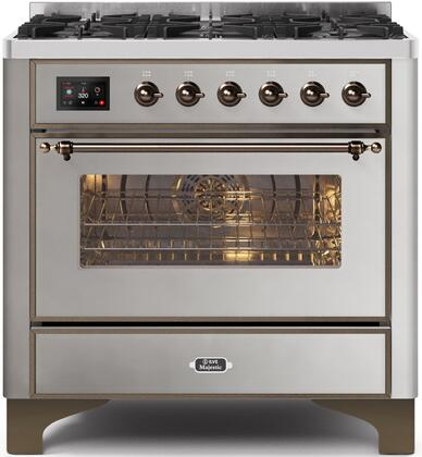 Ilve Majestic II UM096DNS3SSB Freestanding Dual Fuel Range Stainless Steel, UM096DNS3SSBNG-Front-CD-A