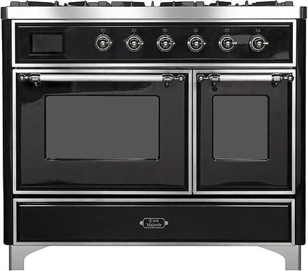 """UMD10FDNS3BKC 40"""" Majestic II Series Dual Fuel Natural Gas Range with 6 Sealed Burners and Griddle, 3.82 cu. ft. Total Oven Capacity, TFT Oven Control Display, Chrome Trim, in Glossy Black"""