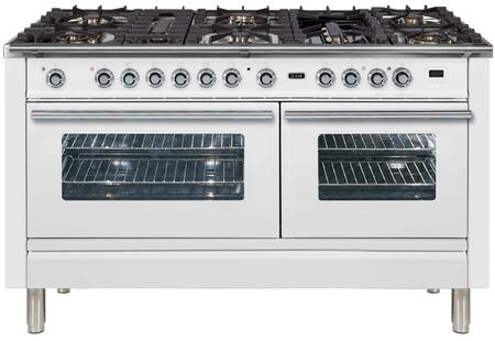 Ilve Professional Plus UPW150FDMPB Freestanding Dual Fuel Range White, 1
