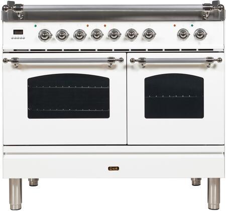 Ilve Nostalgie UPDN100FDMPBXLP Freestanding Dual Fuel Range White, ilve UPDN100FDMPBXLP range front