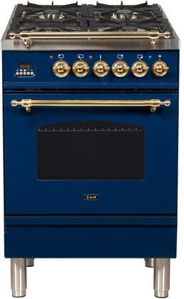 Ilve Nostalgie UPN60DMPBL Freestanding Dual Fuel Range Blue, UPN60DMPBL Dual Fuel Gas Range