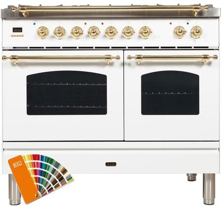 """UPDN100FDMPRALxxLP 40"""" Nostalgie Series Dual Fuel Range with 5 Sealed Brass Burners, 3.55 cu. ft. Total Capacity True Convection Oven, Griddle, in Custom RAL Color"""