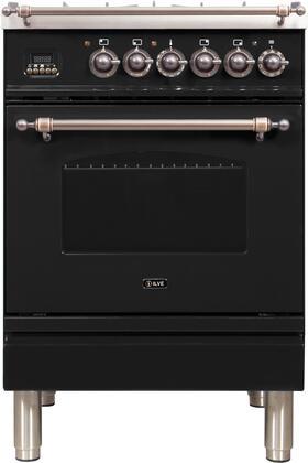 Ilve Nostalgie UPN60DMPNY Freestanding Dual Fuel Range Black, ilve UPN60DMPNY range front