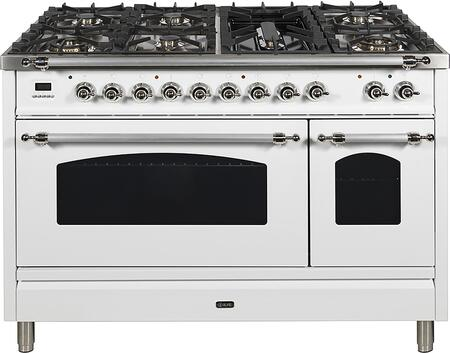 Nostalgie Series 48 Inch Dual Fuel Natural Gas Freestanding Range in White with Chrome Trim