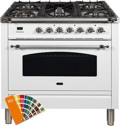 Ilve Nostalgie UPN90FDMPRALX Freestanding Dual Fuel Range Custom Color, Custom RAL Color Option, Customer Must Supply RAL Code