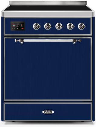 Ilve Majestic II UMI30QNE3MBC Freestanding Electric Range Blue, UMI30QNE3MBC-Front-CD-A