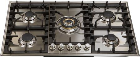 """UHP95C/I 36"""" Gas Cooktop with 5 Sealed Brass Burners, 15,500 BTU Triple Ring Burner, Cast Iron Grates, in Stainless Steel"""