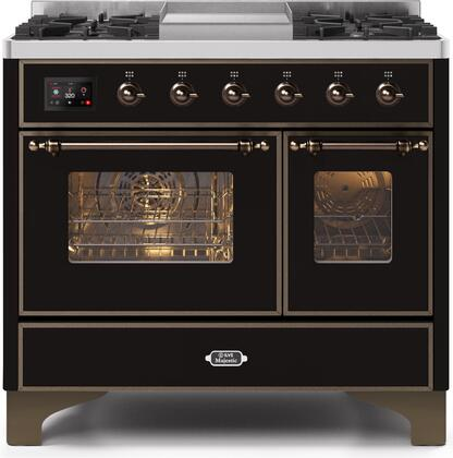 """UMD10FDNS3BKBLP 40"""" Majestic II Series Dual Fuel Liquid Propane Rangewith 6 Sealed Burners and Griddle, 3.82 cu. ft. Total Oven Capacity, TFT Oven Control Display, Bronze Trim, in Glossy Black"""