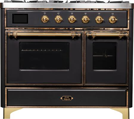 Majestic II Series 40 Inch Dual Fuel Natural Gas Freestanding Range in Matte Graphite with Brass Trim