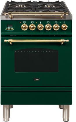 Ilve Nostalgie UPN60DMPVS Freestanding Dual Fuel Range Green, ilve UPN60DMPVS range top