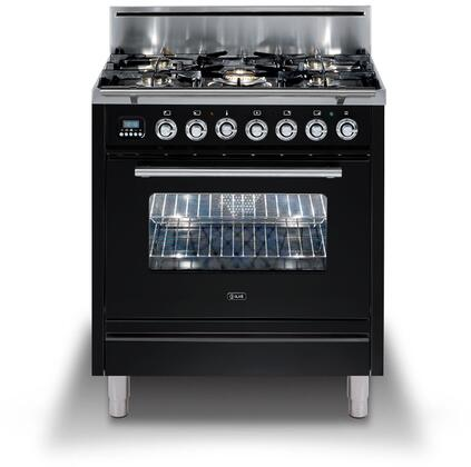 """UPW76DVGGNLP 30"""" Professional Plus Freestanding Liquid Propane Range with 5 Sealed Brass Burners, 2.7 cu. ft. Oven Capacity, Convection, Electric Rotisserie, in Gloss Black"""