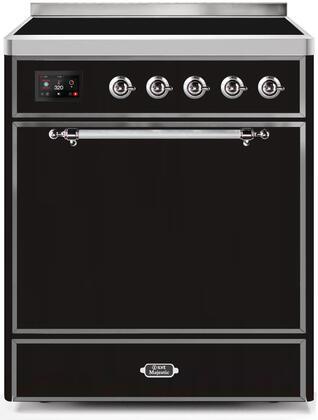 Ilve Majestic II UMI30QNE3BKC Freestanding Electric Range Black, UMI30QNE3BKC-Front-CD-A