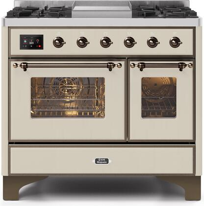 Ilve Majestic II UMD10FDNS3AWB Freestanding Dual Fuel Range Bisque, UMD10FDNS3AWBNG-Front-CD-A