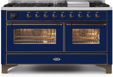 Ilve Majestic II UM15FDNS3MBB Freestanding Dual Fuel Range Blue, UM15FDNS3MBBNG-Front-CD-A