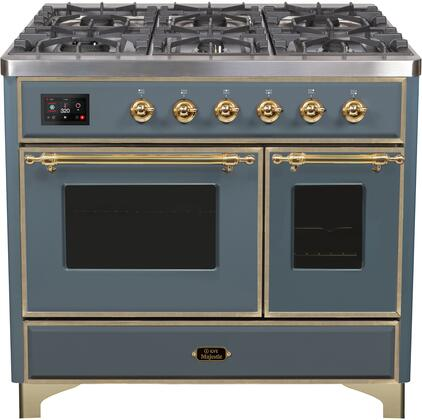 """UMD10FDNS3/BGGLP 40"""" Majestic II Series Dual Fuel Range with 6 Sealed Burners and Griddle, 3.82 cu. ft. Total Oven Capacity, TFT Oven Control Display, Triple Glass Cool Door Oven, Blue Grey"""