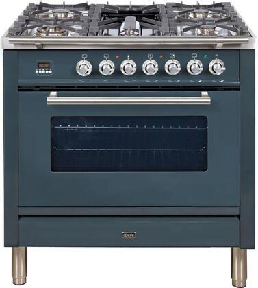 Ilve Professional Plus UPW90FDVGGGU Freestanding Gas Range Blue Grey, UPW90FDVGGGU Professional Plus Gas Range