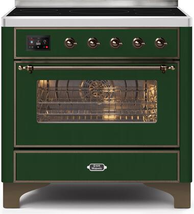 Ilve Majestic II UMI09NS3EGB Freestanding Electric Range Green, UMI09NS3EGB-Front-CD-A