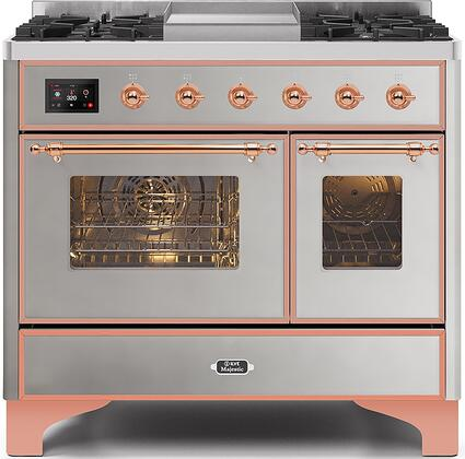 Majestic II Series 40 Inch Dual Fuel Natural Gas Freestanding Range in Stainless Steel with Copper Trim