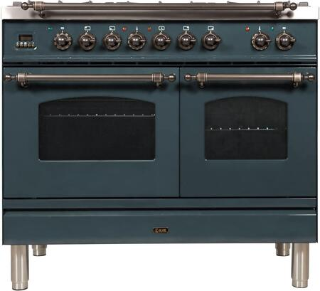 """UPDN100FDMPBGY 40"""" Nostalgie Series Dual Fuel Range with 5 Sealed Brass Burners, 3.55 cu. ft. Total Capacity True Convection Oven, Griddle, Bronze Trim, in Blue Grey"""