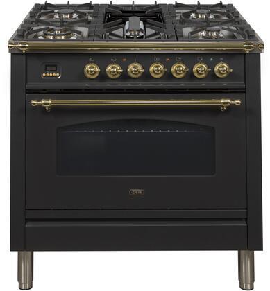 Ilve Nostalgie UPN90FDMPN Freestanding Dual Fuel Range Black, UPN90FDMPN Dual Fuel Range