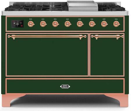 Ilve Majestic II UM12FDQNS3EGPLP Freestanding Dual Fuel Range Green, UM12FDQNS3EGPLP-Front-CD-A