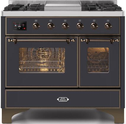 Ilve Majestic II UMD10FDNS3MGB Freestanding Dual Fuel Range Graphite, UMD10FDNS3MGBNG-Front-CD-A