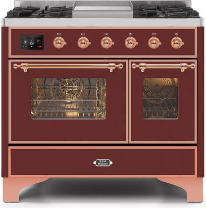 Ilve Majestic II UMD10FDNS3BUP Freestanding Dual Fuel Range Red, UMD10FDNS3BUPNG-Front-CD-A