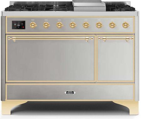 Ilve Majestic II UM12FDQNS3SSGLP Freestanding Dual Fuel Range Stainless Steel, UM12FDQNS3SSGLP-Front-CD-A