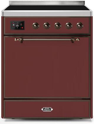 Ilve Majestic II UMI30QNE3BUB Freestanding Electric Range Red, UMI30QNE3BUB-Front-CD-A