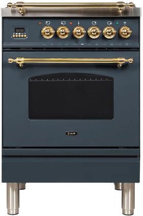 Ilve Nostalgie UPN60DMPBG Freestanding Dual Fuel Range Blue Grey, Blue Grey Dual Fuel Range