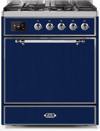 Ilve Majestic II UM30DQNE3MBCLP Freestanding Dual Fuel Range Blue, UM30DQNE3MBCLP-Front-CD-A