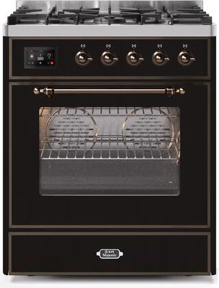 Ilve Majestic II UM30DNE3BKBLP Freestanding Dual Fuel Range Black, UM30DNE3BKBLP-Front-CD-A