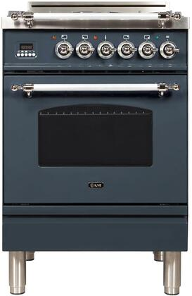 """UPN60DVGGYBGXNG 24"""" Nostalgie Series Freestanding Gas Range with 4 Brass Sealed Burners, 2.4 cu. ft. Oven Capacity, Full Width Drawer, Digital Clock and Timer, 2 Oven Racks, and Chrome"""