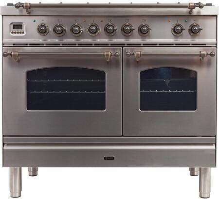 Ilve Nostalgie UPDN100FDMPIYLP Freestanding Dual Fuel Range Stainless Steel, UPDN100FDMPIY Dual Fuel Range
