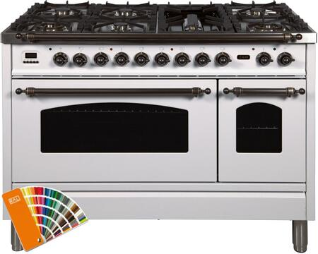 """UPN120FDMPRALY 48"""" Nostalgie Series Dual Fuel Natural Gas Range with 7 Sealed Burners, 5 cu. ft. Total Capacity True Convection Oven, Griddle, in Custom RAL Color with Bronze Trim"""