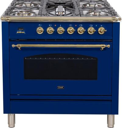"""UPN90FDMPBL 36"""" Nostalgie Series Dual Fuel Natural Gas Range with 5 Sealed Brass Burners, 3 cu. ft. Capacity True Convection Oven, with Brass Trim, in Blue"""