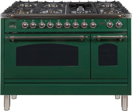 Ilve Nostalgie UPN120FDMPVSY Freestanding Dual Fuel Range Green, ilve UPN120FDMPVSY range top