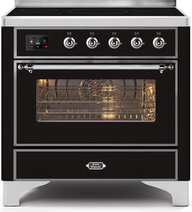 Ilve Majestic II UMI09NS3BKC Freestanding Electric Range Black, UMI09NS3BKC-Front-CD-A
