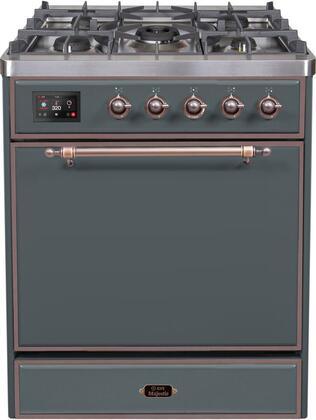 "UM30DQNE3/BGB 30"" Majestic II Series Freestanding Liquid Propane Dual Fuel Range with 5 Sealed Brass Non Stick Coated Burners, 3.5 cu. ft. Oven Capacity, TFT Oven Control Display, Blue Grey"