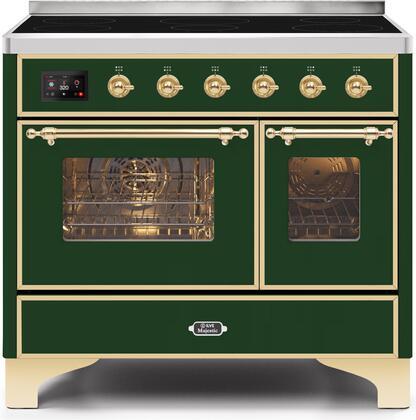 Ilve Majestic II UMDI10NS3EGG Freestanding Electric Range Green, UMDI10NS3EGG-Front-CD-A