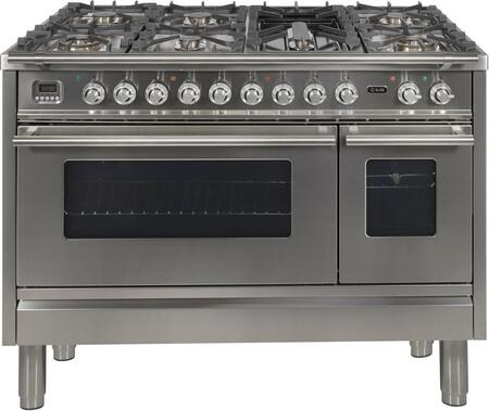 """UPW120FDMPILP 48"""" Professional Plus Dual Fuel Range with 7 Sealed Burners, Double Ovens, Griddle, and Rotisserie, in Stainless Steel"""