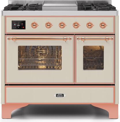 Ilve Majestic II UMD10FDNS3AWPLP Freestanding Dual Fuel Range Bisque, UMD10FDNS3AWPLP-Front-CD-A