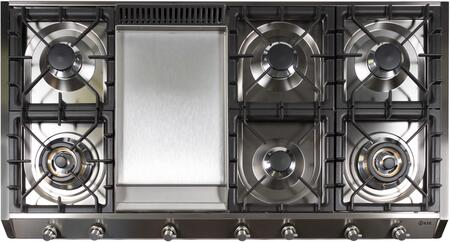 """UHP1265FD/I/LP 48"""" Professional Style Liquid Propane Cooktop with 7 Brass Burners, Griddle, Flame Failure Safety Device, Cast Iron Grates, Electronic Ignition, Stainless Steel Knobs, and Electronic Ignition, in Stainless Steel"""