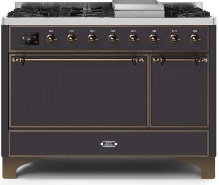 Ilve Majestic II UM12FDQNS3MGBLP Freestanding Dual Fuel Range Graphite, UM12FDQNS3MGBLP-Front-CD-A