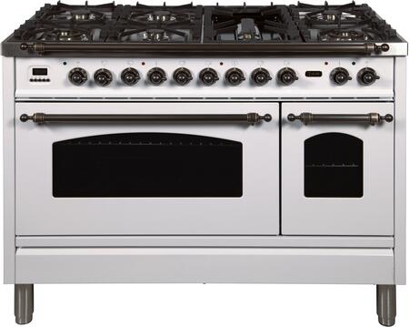 Ilve Nostalgie UPN120FDMPBYLP Freestanding Dual Fuel Range White, UPN120FDMPBYLP Liquid Propane Range