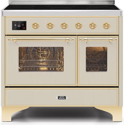 """UMDI10NS3AWG 40"""" Majestic II Series Induction Range with 6 Elements, 3.82 cu. ft. Total Oven Capacity, TFT Oven Control Display, Brass Trim, in Antique White"""