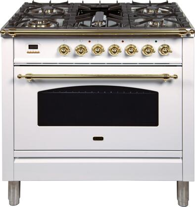 """UPN90FDMPB 36"""" Nostalgie Series Dual Fuel Natural Gas Range with 5 Sealed Brass Burners, 3 cu. ft. Capacity True Convection Oven, with Brass Trim, in White"""